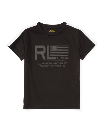 Short-Sleeve Mesh Performance Tee, Polo Black, Size 2-4