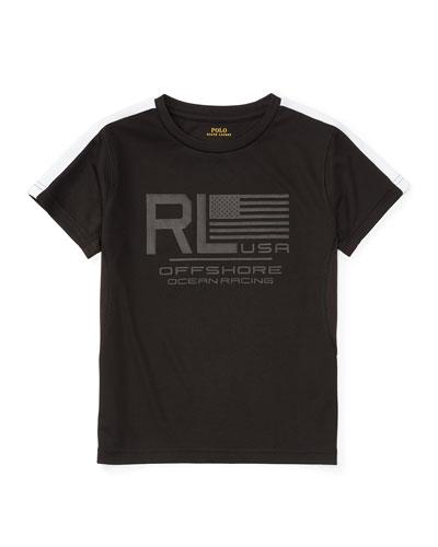Short-Sleeve Mesh Performance Tee, Polo Black, Size 5-7