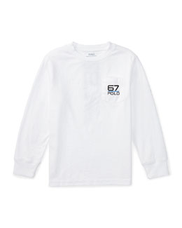 Long-Sleeve Cotton Jersey Rubber-Print Tee, Pure White, Size 5-7