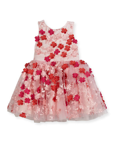 Amelie Sleeveless 3D Floral Party Dress, White/Pink, Size 4-6