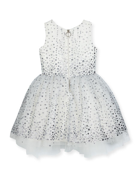 Aria Sleeveless Metallic Polka-Dot Tulle Dress, White/Silver, Size 7-16