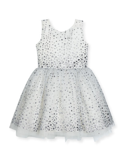 Aria Sleeveless Metallic Polka-Dot Tulle Dress, White/Silver, Size 7-16