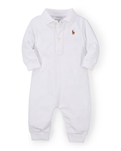 Long-Sleeve Pima Polo Coverall  White  Size 3-12 Months