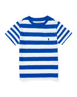 Striped Cotton Slub Jersey Tee, Pure White/Blue, Size 2-4