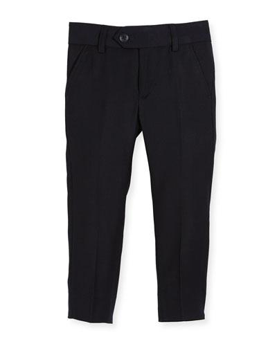 Straight-Leg Suit Pants, Navy, Size 2-14
