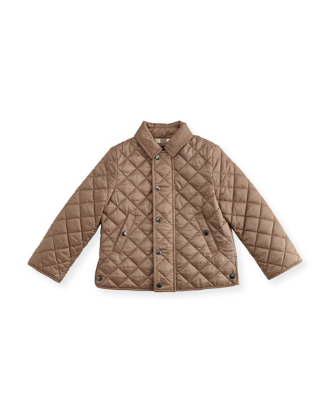 Luke Quilted Snap-Front Jacket, Brown, Size 12M-3