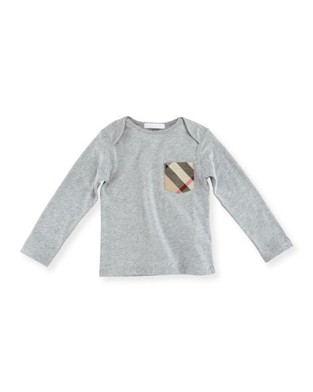 Burberry Callum Long-Sleeve Jersey Tee, Size 6M-3Y