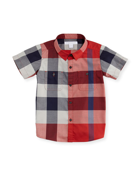 Burberry Mini Camber Short-Sleeve Check Shirt, Red, Size