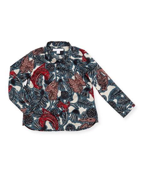 Clarkey Poplin Printed Button-Down Shirt, Size 12M-3T