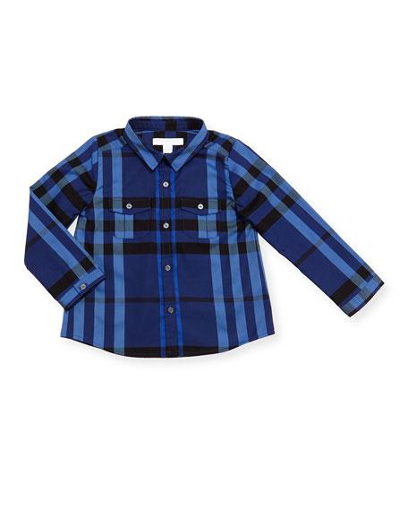 Trent Long-Sleeve Check Poplin Shirt, Blue, Size 6M-3