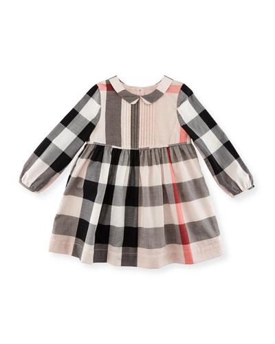 Liz Long-Sleeve Check Dress, Size 2