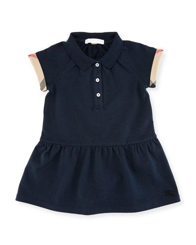 Cali Smocked Raglan Polo Dress, Size 2