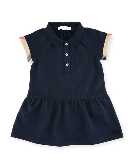Cali Smocked Raglan Polo Dress, Size 6M-3Y