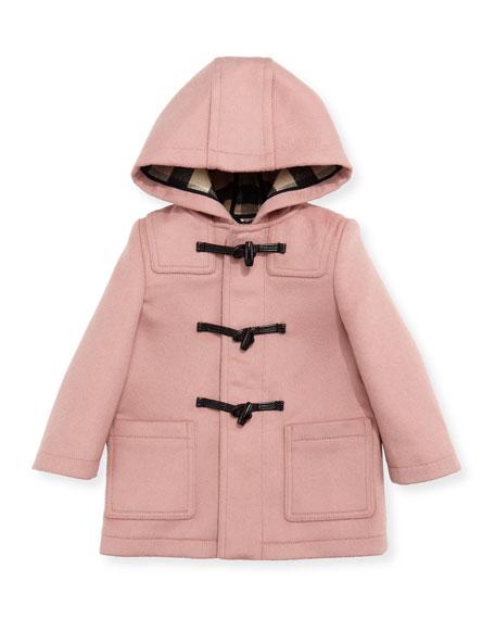 Brogan Hooded Duffle Coat, Rose, Size 12M-3T