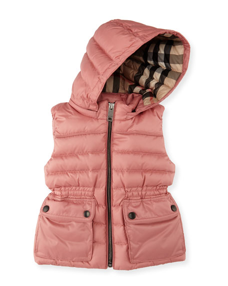 Mini Maggie Down Gilet w/Detachable Hood, Size 12 Months-3 Years