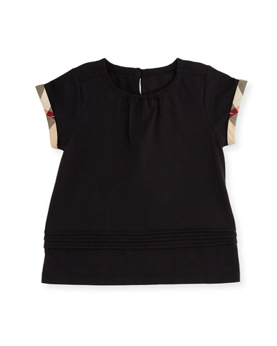 Gisselle Pintucked Jersey Tee, Black, Size 6 Months-3T