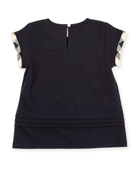 Gisselle Pintucked Melange Jersey Tee, Navy, Size 6M-3Y