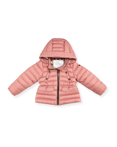Burberry Mini Bronwyn Quilted Puffer Coat, Rose, Size