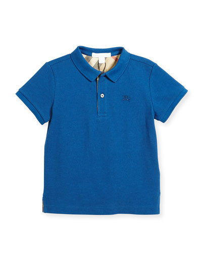 Boys' Cotton Polo, Blue, Size 4
