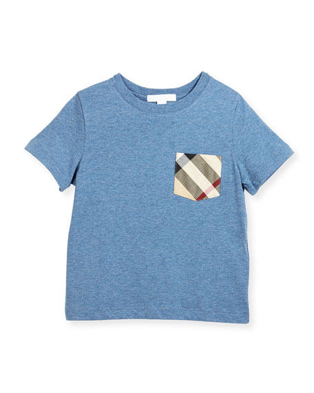 Callum Check-Pocket Jersey Tee, Blue, Size 4-14