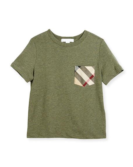 Callum Check-Pocket Jersey Tee, Green, Size 4-14