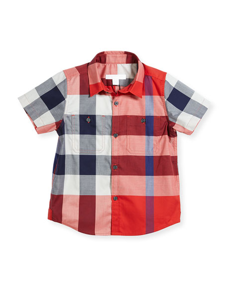 Mini Camber Short-Sleeve Check Shirt, Red, Size 4-14