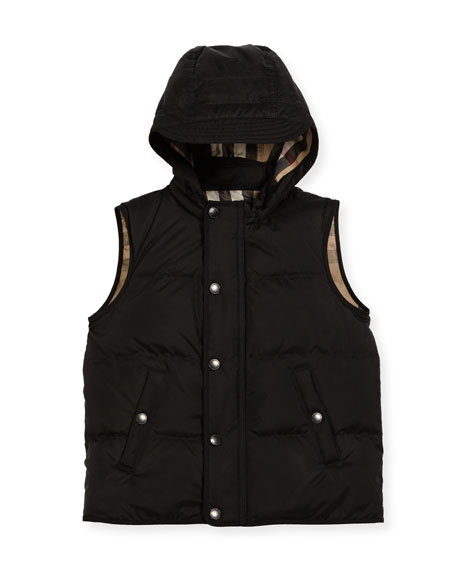 Burberry Carlton Hooded Puffer Vest, Size 4-14
