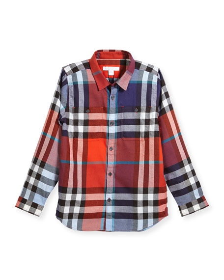 Mini Camber Check Shirt, Red, Size 4-14