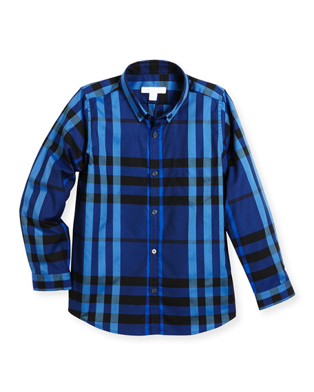 Fred Mini Long-Sleeve Check Shirt, Blue, Size 4-14