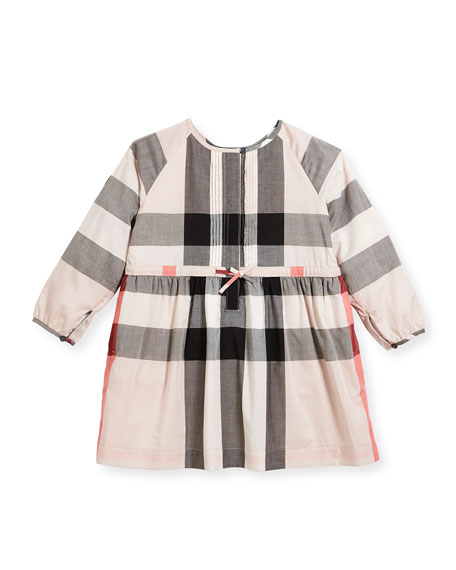 Burberry Agnes Long-Sleeve Check Dress, Size 4