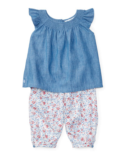 Sleeveless Smocked Chambray Top w/ Floral Leggings, Quincy Wash/Multicolor, Size 9-24 Months
