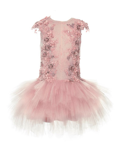 Who's the Prettiest Beaded Drop-Waist Tulle Dress, Pink, Size 4-6