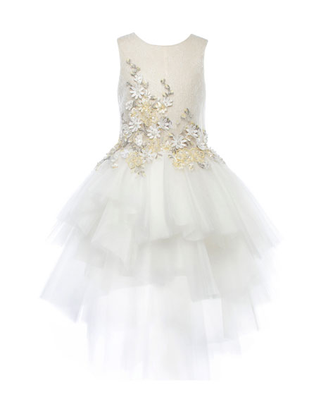Pure Beauty Beaded Lace & Tulle Dress, White, Size 2-4