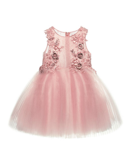 In Love Pleated Tulle Dress, Pink, Size 1-3