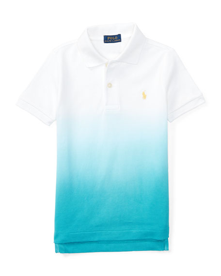 edcb8655 Ralph Lauren Childrenswear Basic Mesh Dip-Dye Polo Shirt, True Aqua/White,  Size 2-4