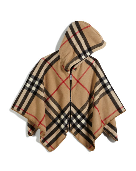 Burberry Girls' Vickie Check Zip-Up Poncho