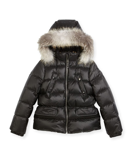 Bronwyn Quilted Puffer Coat w/ Fur Trim, Black, Size 4-14