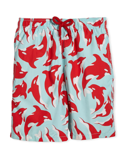 Galak Orca-Print Swim Trunks, Size 10-14
