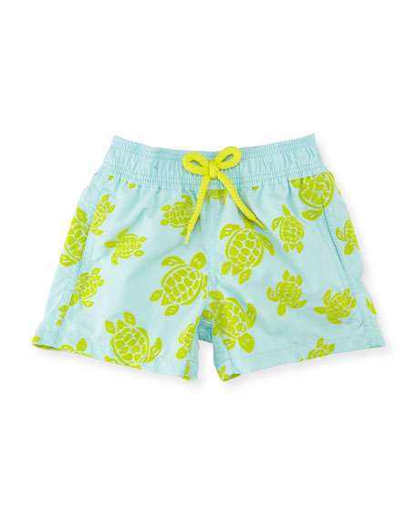 Jim Flocked Turtles Swim Trunks, Boys' 2-8