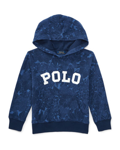 Hooded Floral Pullover Sweatshirt, Blue Tropical, Size 5-7