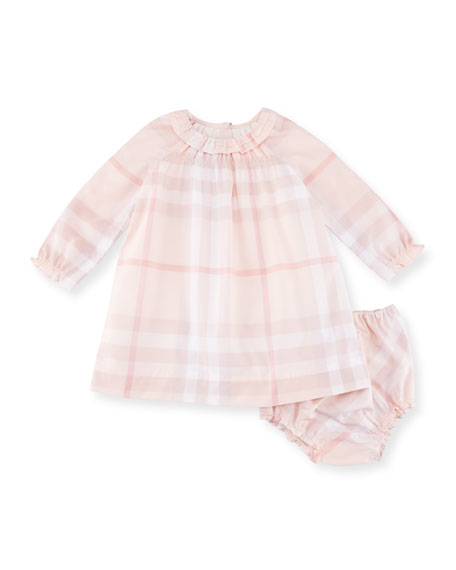 Amandine Long-Sleeve Check Shift Dress w/ Bloomers, Pink, Size 3-24 Months