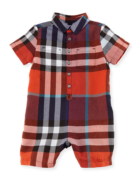 Burberry Kirk Short-Sleeve Check Playsuit, Size 3-24 Months