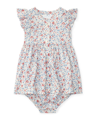 Sleeveless Floral Fit-and-Flare Dress w/ Bloomers, Cream/Pink Multicolor, size 9-24 Months