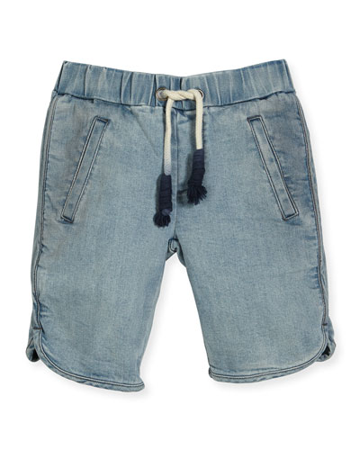 Albert Chambray Drawstring Shorts, Blue, Size 4-12