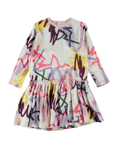 Molo Candis Long-Sleeve Jersey Graffiti Dress, Gray/Multicolor,