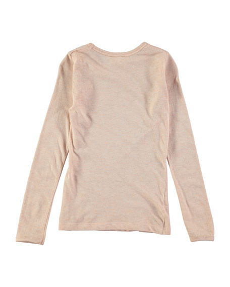 Ramona Long-Sleeve Metallic Jersey Tee, Blush, Size 3-14