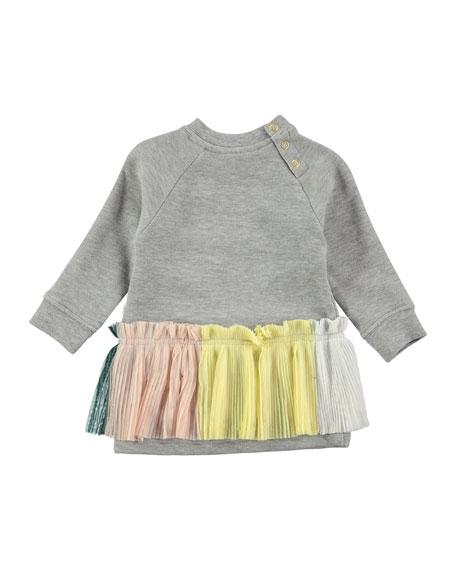 Cher Long-Sleeve Skirted Sweat Dress, Gray, Size 12-24 Months