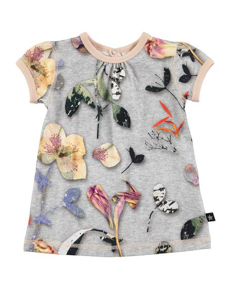 Cathleen Cap-Sleeve Paper Petals Jersey Dress, Gray, Size 12-24 Months