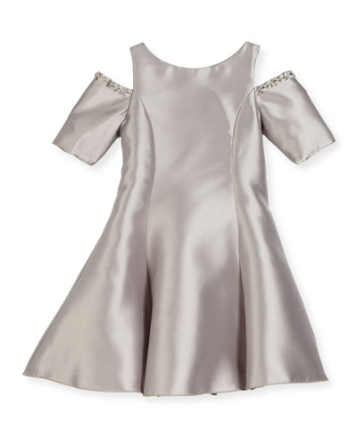 Emme Cold-Shoulder Fit-and-Flare Dress, Silver, Size 7-16
