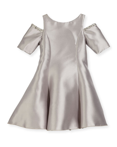Zoe Emme Cold-Shoulder Fit-and-Flare Dress, Silver, Size 7-16